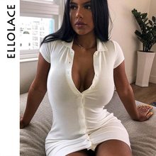 Ellolace Sexy Deep-V Knitted Mini Dress Women Fitness Autumn Bodycon Casual Solid Botton 2019 Slim Vestidos Dresses