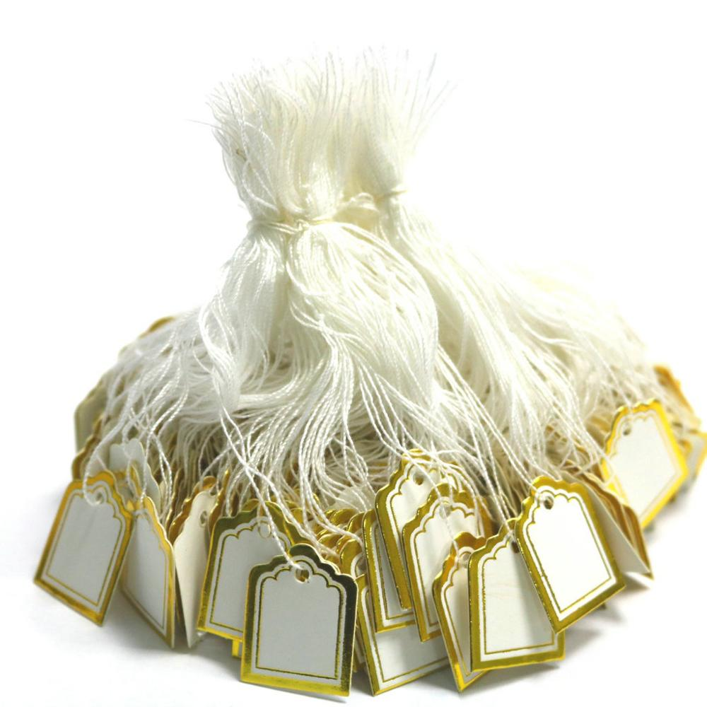500Pcs/Lot 24*18mm Gold And Silver Label Jewellery Handwritten Price Tag With Cotton Rope