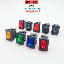 KCD1-101 15*21mm 3pin com led ligar/desligar interruptor de balancim marinho painel do carro caminhão interruptor de alimentação vermelho azul amarelo verde preto