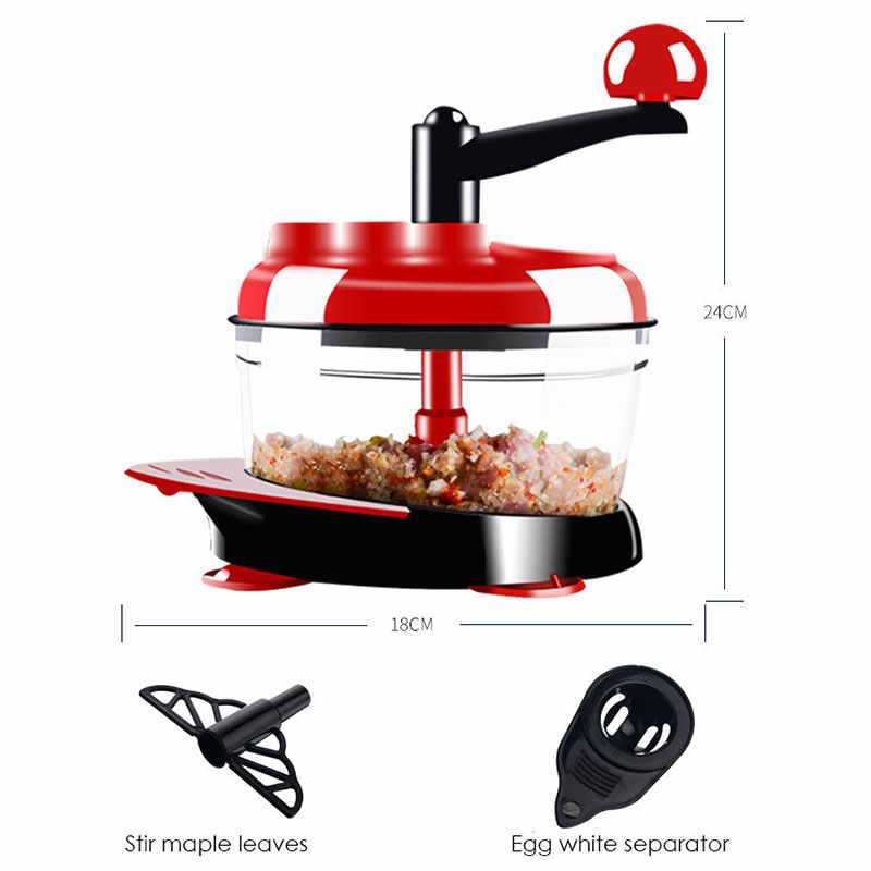 Dapur Manual Food Processor Mixer Telur Blender Daging Grinder Sayur Chopper Mesin Penghancur Stainless Steel Blade Cutter