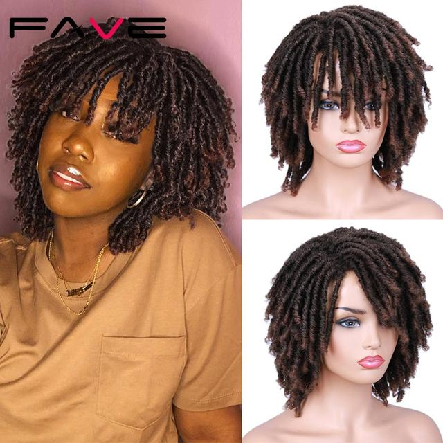 FAVE Dreadlock Curly Wig Short Synthetic Twist Natural Black /1b 30 Ombre Brown For Black Women and Men Afro Curly Hair Party