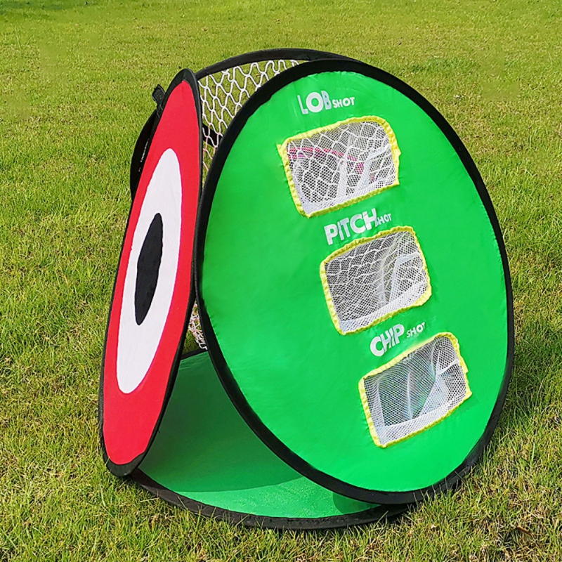 Купить с кэшбэком Portable Golf Chipping Net with 3 Balls 3 Sides Golf Practice Indoor Outdoor Chipping Pitching Cages Pitch Chip Mats Cages