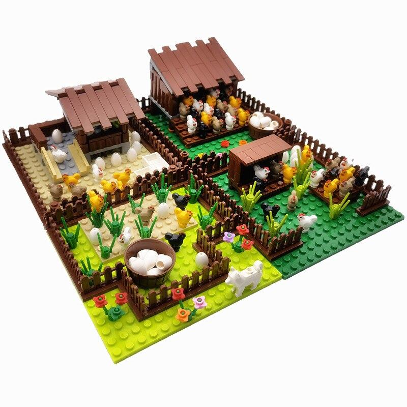 Creator City Farm Building Blocks Animals Set Pigpen Doghouse Henhouse Pig Dog Toys For Children Countryside City Bricks Model