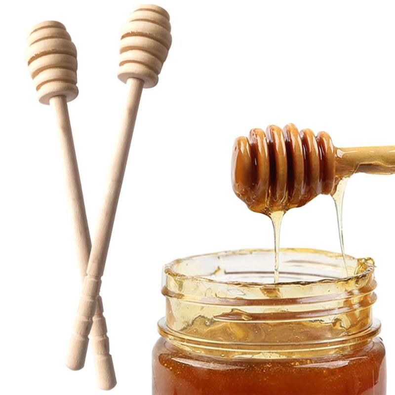 1Pc High Quality Honey Stir Bar Mixing Handle Jar Spoon Practical Wood Dipper Honey Long Stick Supplies Honey Kitchen Tools