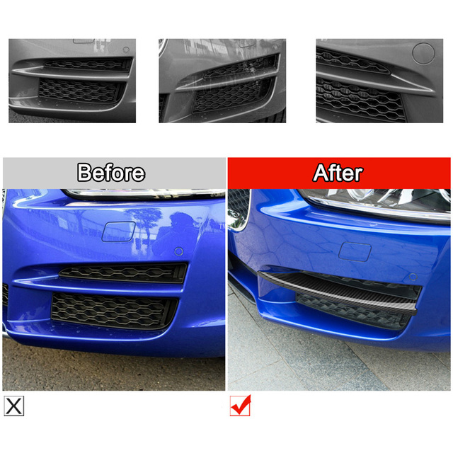 2PCS For Jaguar XE X760 2017 2018 ABS Car Exterior Front Fog Lamp Foglight Frame Trim Strips Covers Stickers Auto Accessories 6