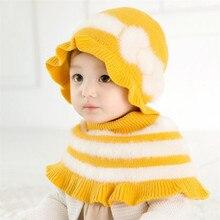 Детская шапка и шарф, детская маска, вязаный зимний теплый шарф с капюшоном, защита ушей, помпон, шарфы с капюшоном, Аксессуары для мальчика