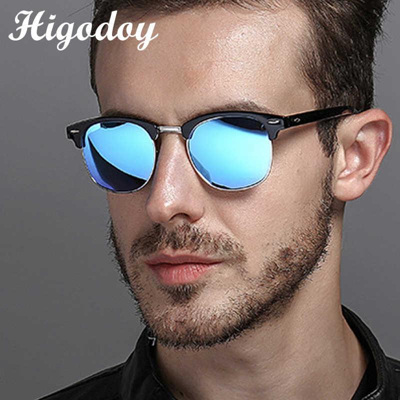 Higodoy Retro Classic delikatne Vintage okrągłe ponadgabarytowe okulary mężczyźni kwadratowe gogle pół-rimless damskie okulary przeciwsłoneczne