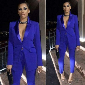 Royal Blue Mother Of The Bride Dresses Ladies Party Suits Blazer Pant Formal Office Work Sexy