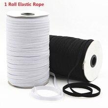 1 рулон эластичная лента белый черный нейлоновый резиновый шнур оплетка прочная веревка для шитья одежды аксессуары «сделай сам» маска рук...