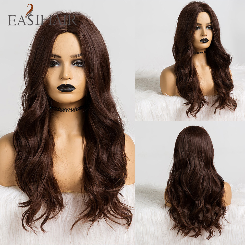 EASIHAIR Long Dark Brown Synthetic Wigs For Women Heat Resistant Wave Wigs Natural Fiber Hair Glueless Cosplay Wigs High Density