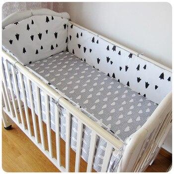 6PCS kit berço Baby Crib Bedding Set for Girls Cotton Toddler Baby Bed Linens Baby Bed (4bumper+sheet+pillow cover)