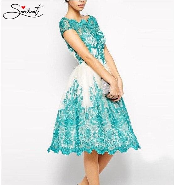 SERMENT Autumn Cyan Lace   Evening     Dress   Slim Lace   Dress   Formal   Dress   Women Elegant Suitable Work Embroidery Flower Lace Neck Line