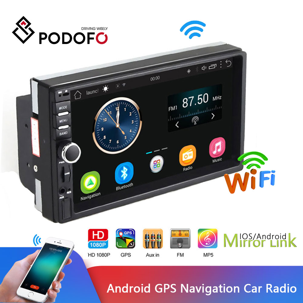 Podofo Auto Radio 2 Din Car Radio Android GPS Navigation Audio Stereo 7 Universal Multimedia Player
