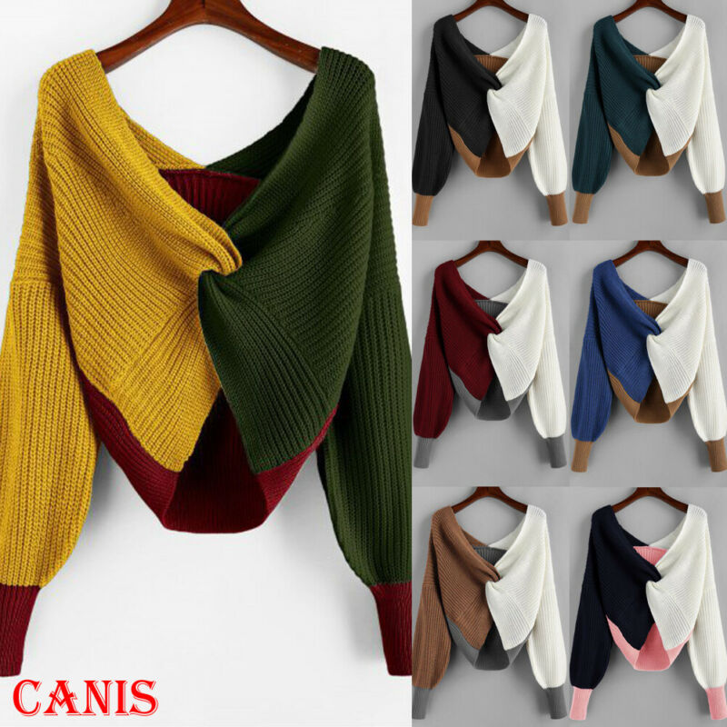 2020 Spring Autumn Winter Women's V-neck Color Block Sweater Tops Casual Long Sleeve Pullover Jumper Knit Sweaters