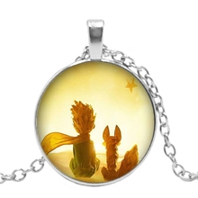 Fashion New Handmade Necklace Cartoon Surrounding Prince and Fox Glass Pendant Personalized Gift Childrens