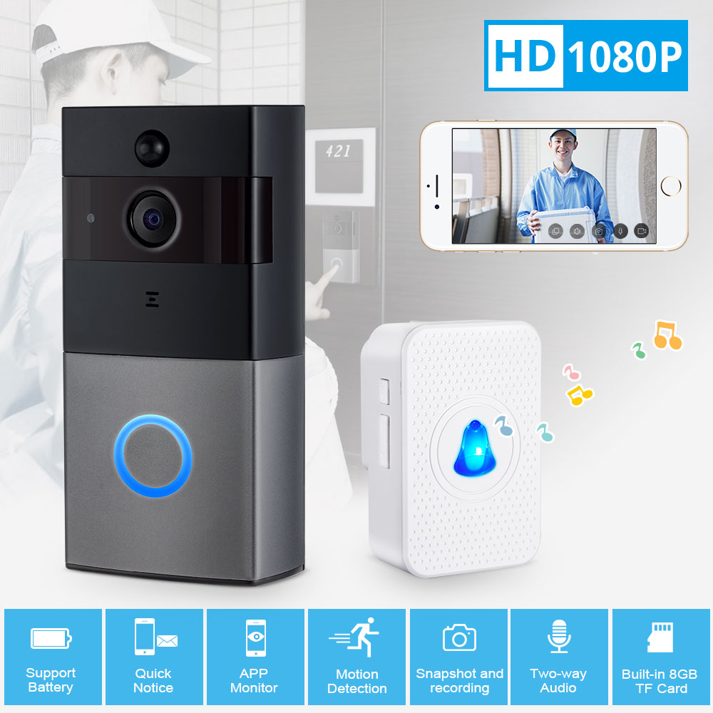 Wireless Video Doorbell WiFi 1080P Security Camera Door Phone Two-Way Audio Night Vision Door Bell Intercom Video Doorbell