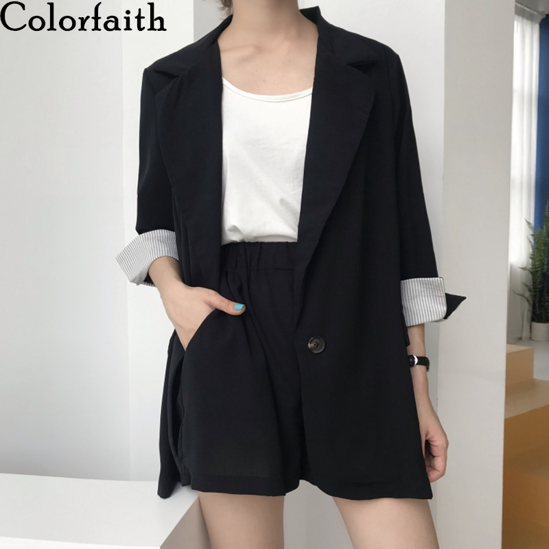 Colorfaith 2020 New Summer Woman Sets 2 Piece Outfits Matching Short Pants Casual Costume Striped Elastic Waist Lady Suit WS8048