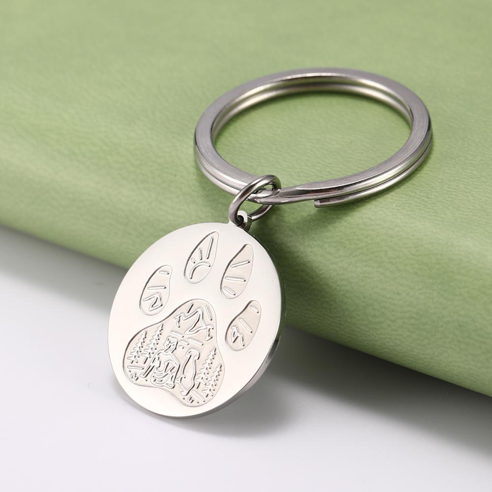 My Shape Stainless Steel Dow Paw Keyring Wolf Paw Keychain Keyholder Jewelry