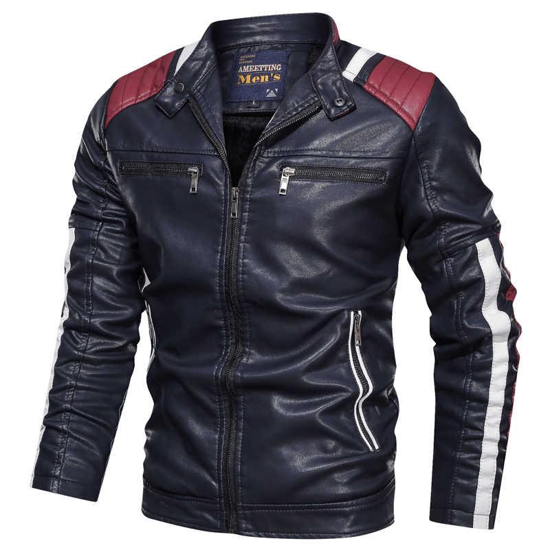 革の男性のジャケットフリース暖かい爆撃機のコートスリムフィットラグジュアリーメンズパイロットジャケット 2019 冬男性ブランド abrigo hombre