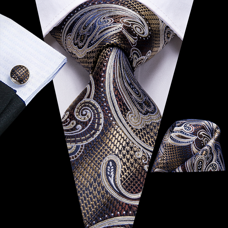 Hi-Tie Unique Designer 100% Silk Ties For Men High Quality Paisley Grey Brown Tie Necktie Hanky Cufflinks Set Fashion Men's Ties