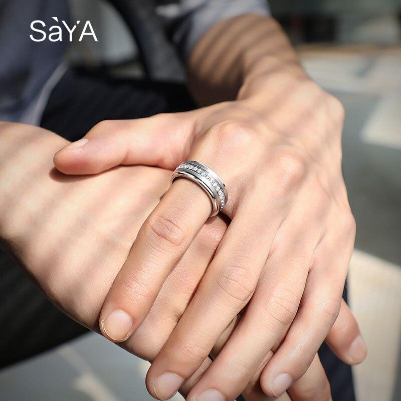 Bague pour hommes, anneaux en carbure de tungstène blanc de largeur 8mm, bijoux de mode avec des anneaux rotatifs de pierres CZ, personnalisés, livraison gratuite - 5