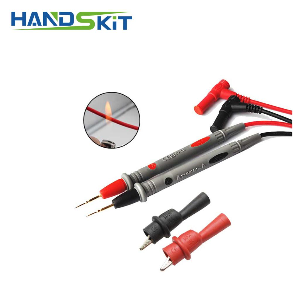 1 Pair Silicone wire Universal Test Leads Pin for Digital Multimeter Needle Test Leads for Current 20A With battrey 2mm clip in Instrument Parts Accessories from Tools