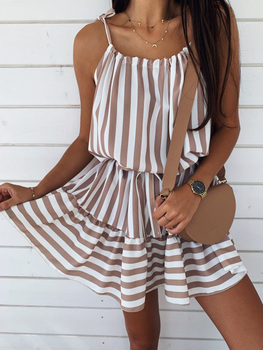 цена на Summer Women Casual Spaghetti Strap Off Shoulder Dress 2020 A-Line Lace Up Waist Striped Holiday Beach Dresses