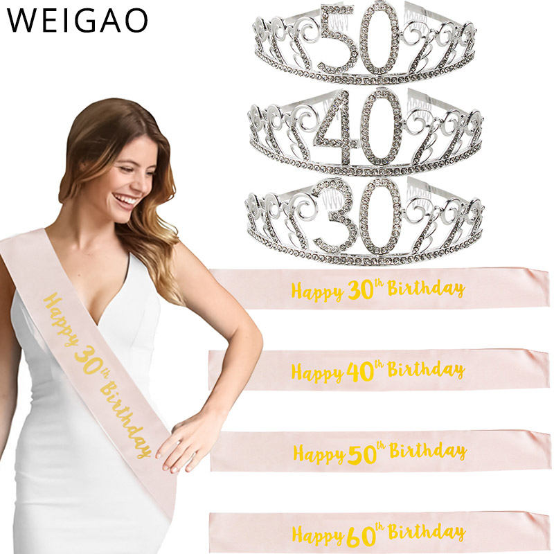 30/40/50th Birthday Decoration adult Birthday Sash and birthday crown Photobooth Props for Happy 30 40 <font><b>50</b></font> Years Birthday decor image