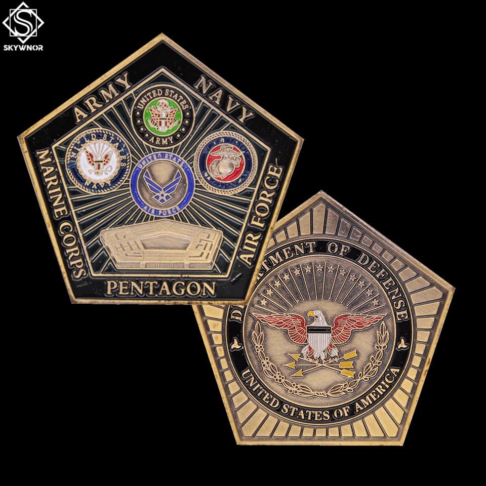 Moedas colecionáveis de moedas dos eua, desafio da força aérea a pentágono