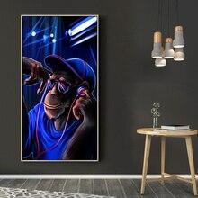 цена DDWW Modern Animal Picture Art Monkey Poster Home Painting Blue Background Canvas Paintings Wall Art No Frame онлайн в 2017 году