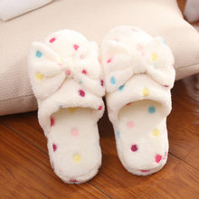 Warm Cute Bow Autumn Winter Woman Slippers Home Wear Sandals Woman Flats Plus Size Comfortable Platform Woman Wedges Shoes(China)