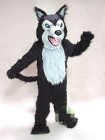 Adults Black Wolf Husky Dog Fursuit Mascot Costume Suits Party Dress Clothing Promotion Carnival Hallowen Cosplay Unsiex Gift