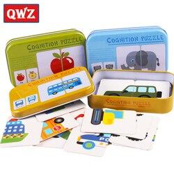 Rompecabezas cognitivo para bebés y niños, juguetes para niños pequeños con caja de hierro, juego a juego, tarjetas cognitivas, vehículos, juegos de vida de frutas y animales, par de rompecabezas