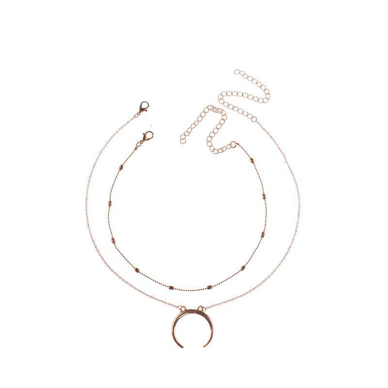 ファッション銀二重層ムーンペンダント女性ネックレスシンプルなゴールドのチェーンチョーカーネックレスレディースビーズ鎖骨ネックレスチョーカー