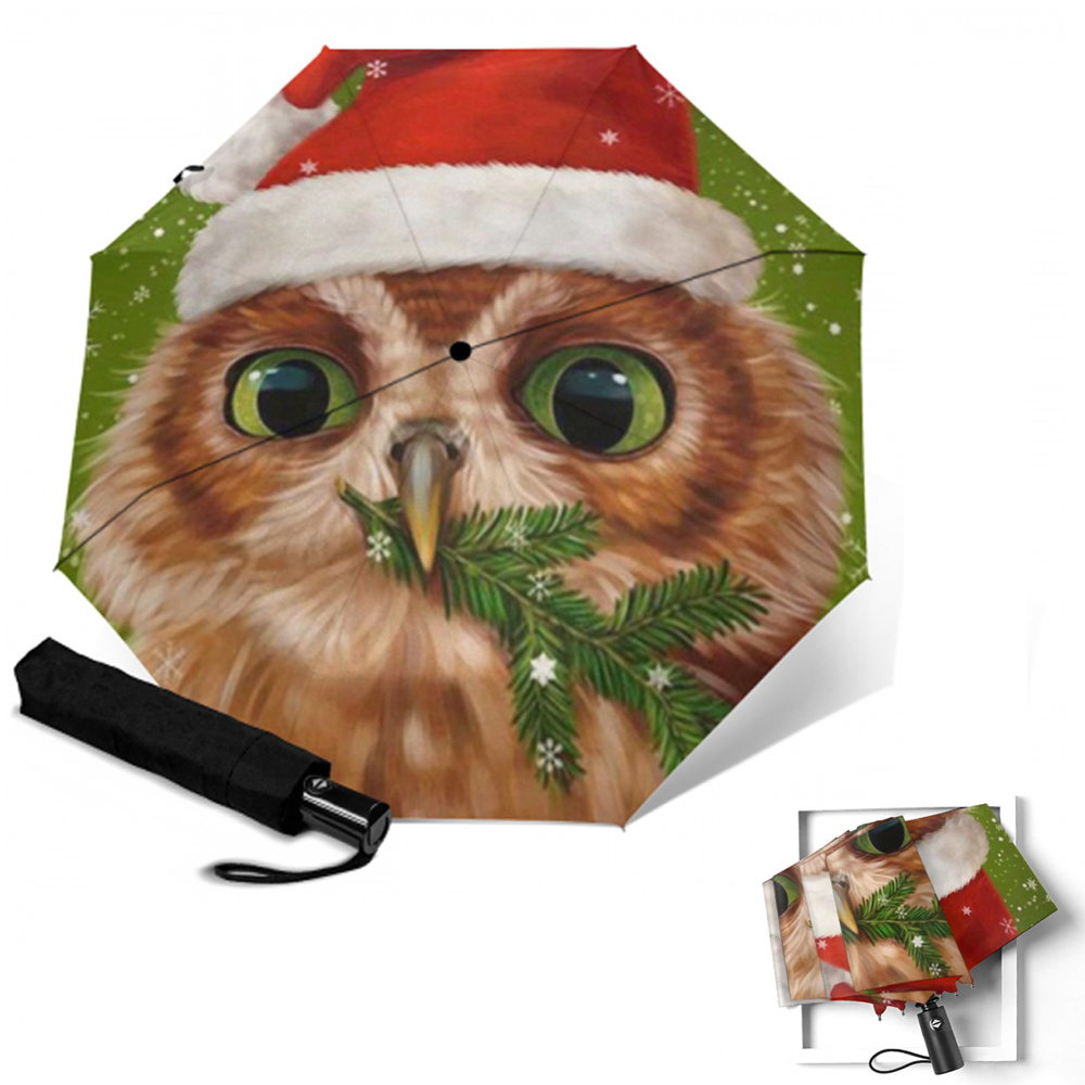 Seamless Pattern With Owls Girls Compact Travel Umbrella Windproof Reinforced Canopy 8 Ribs Umbrella Auto Open And Close Button Customized