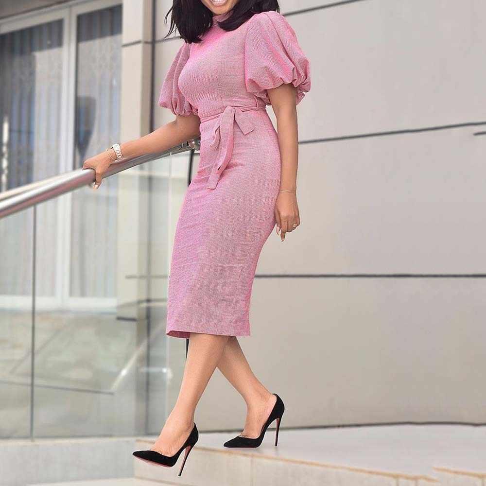 Розовое облегающее вечернее платье с коротким рукавом, женское приталенное платье для выпускного вечера в африканском стиле с поясом, элегантные женские офисные платья до середины икры, 2020, новинка 3XL