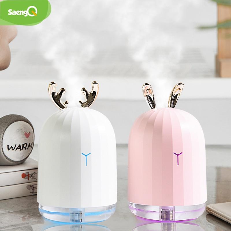 SaengQ 220ML temel hava Aroma yağı difüzörü USB nemlendirici ultrasonik hava nemlendirici LED gece lambası ile elektrikli aromaterapi