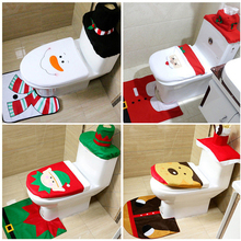 3Pcs/set Christmas Decorations For Home Bathroom Santa Claus Snowman Elk Toilet Bowl Decor New Year