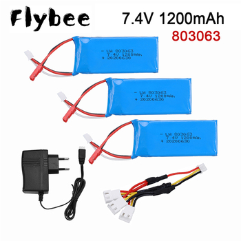 7.4V 1200mAh 30C Lipo Battery For WLtoys V912 V915 V666 MJX X101 X102 YiZhang X6 H16 RC Drone model toys 1200mAh 2S Lipo Battery image