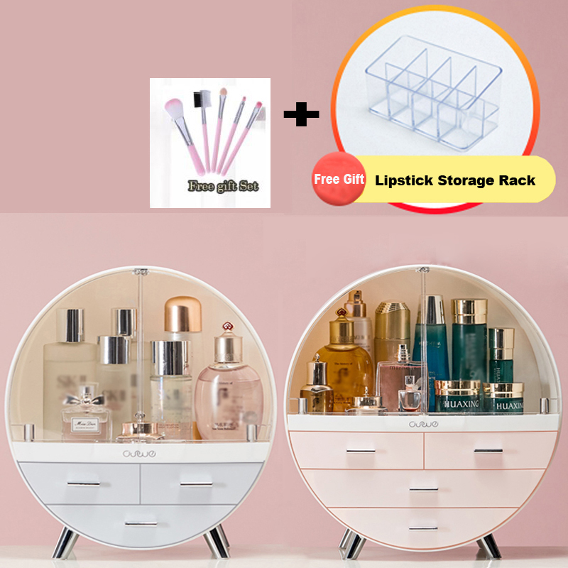 New Double Door Waterproof Make Up Cosmetic Box Dust Cover Box Organizer Drawers Plastic Cosmetic Storage Box Jewelry Container