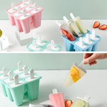 цена на 6 Cell Creative Ice Cream Silicone Mold Ice Maker Homemade DIY Stick Ice Cream Mold Ice Popsicle Ice Making Mold Can bereused