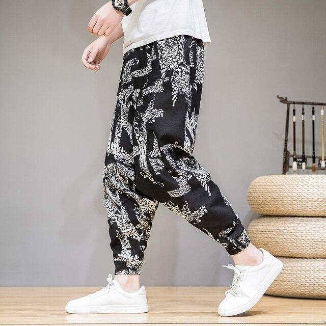 2020 homens verão outono bloomers masculino casual impresso solto algodão harem calças homens grande virilha calças homens hip hop baggy calças 4