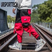 2020 primavera Hip Hop Rosso Mens Pantaloni Pantaloni Pantaloni di Modo Casual Harem Maschile Pantaloni Cargo Multi-tasca Nastri Uomo Pantaloni Della Tuta streetwear
