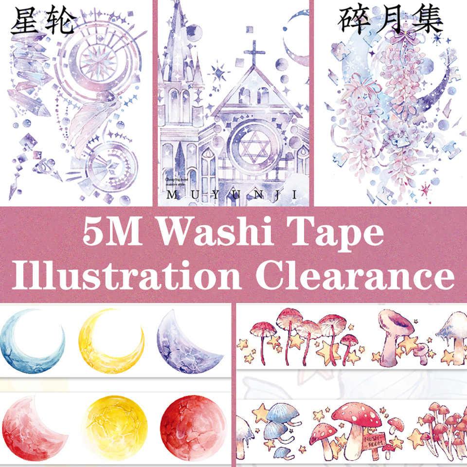 Rollo de 5M, conjunto de cintas Washi, decoración adhesiva, bricolaje, pegatina para álbum de recortes, paisaje, bala de sueño, diario, cintas adhesivas de papel