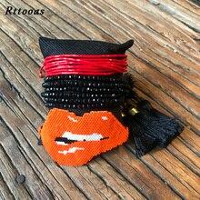 Rttooas Fashion Handmade MIYUKI Beads Bracelet Set Women Girls Gift Sexy Lips Crystal Friendship