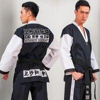 Martial Arts TKD Tae Kwon Do Korea V neck Adult Taekwondo Dobok for Poomsae & Training,WTF Uniform,160 190cm black+red