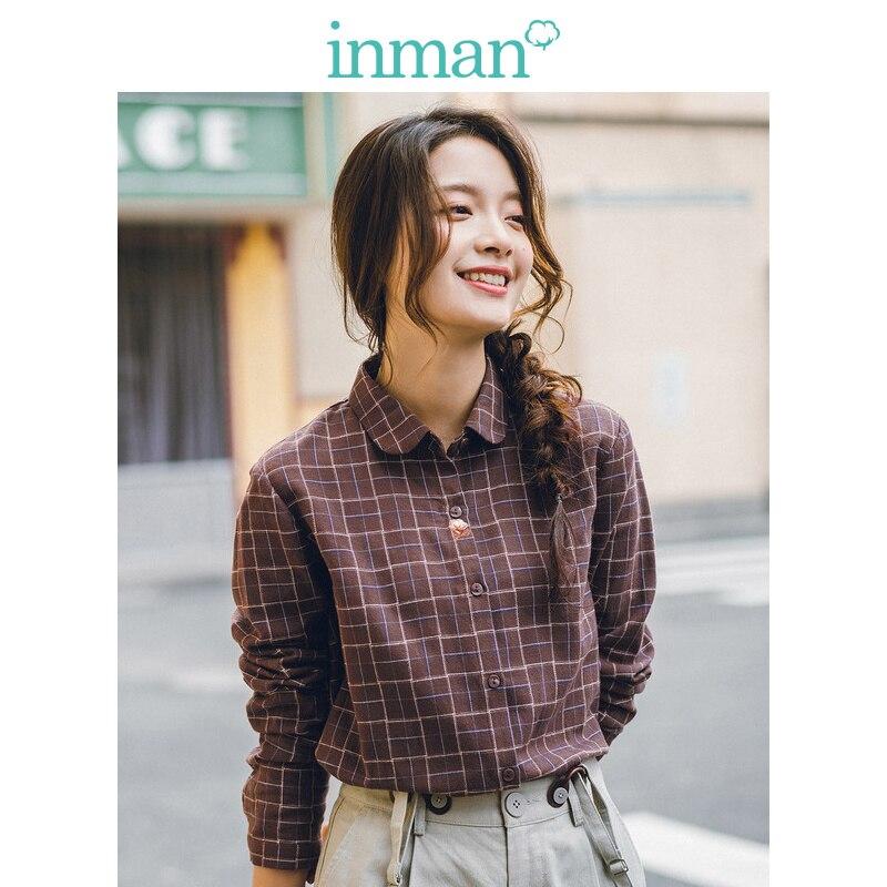 INMAN Spring Autumn 100%Cotton Retro Plaid Turn Down Collar Slim Literary Elegant All Matched Women Blouse