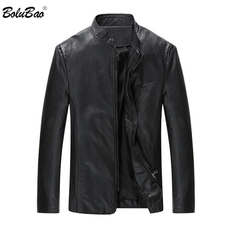 BOLUBAO Brand Men's Leather Jacket Male PU Motorcycle Solid Color Casual Fashion High Quality Winter Warm Leather Jackets Men
