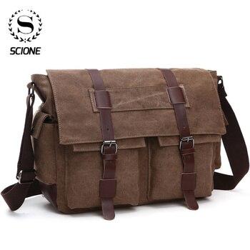 Scione, bolso de mensajero de negocios para hombre, bolso de hombro, bolso cruzado de lona, bolso de viaje de oficina Casual Retro