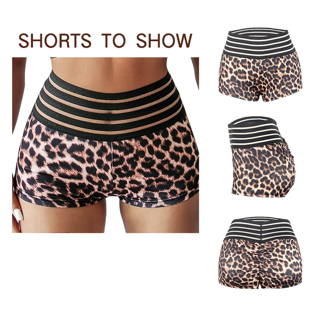 VeryYu Leopard Print Gym Fitness Short Wellness Tools  VerYYu
